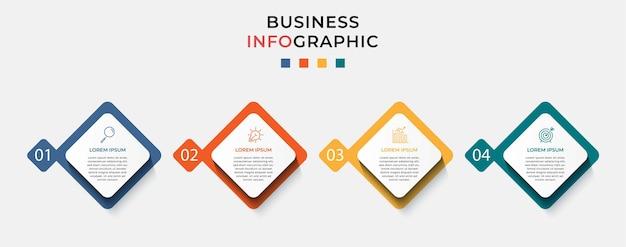 Zakelijke infographic ontwerpsjabloon met pictogrammen en 4 vier opties of stappen.