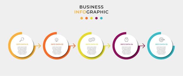 Zakelijke infographic ontwerpsjabloon met pictogrammen en 5 opties of stappen Premium Vector