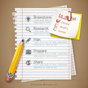 Zakelijke infographic op een notebook