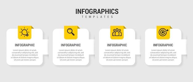 Zakelijke infographic presentatiesjabloon met 4 opties. illustratie.