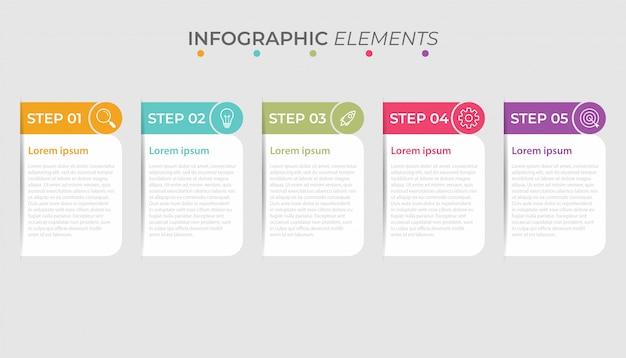 Zakelijke infographic presentatiesjabloon met 5 opties. illustratie.