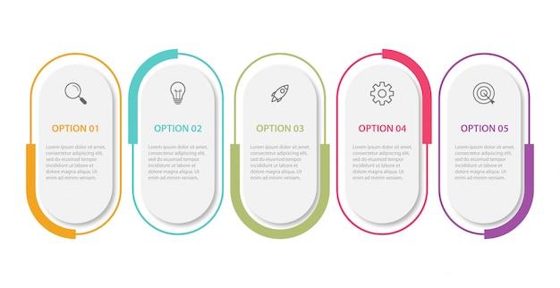 Zakelijke infographic presentatiesjabloon met 5 opties