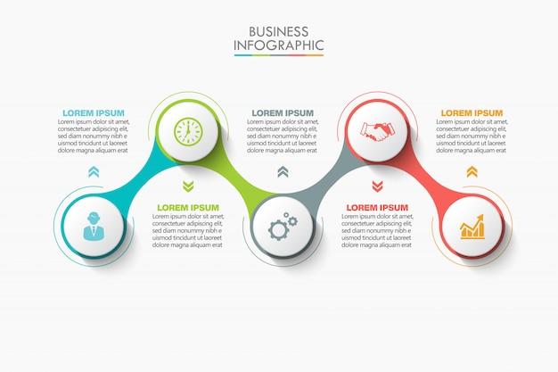 Zakelijke infographic presentatiesjabloon met 5 opties.
