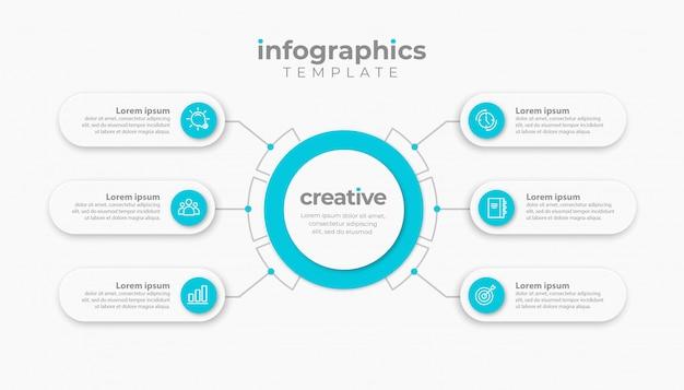 Zakelijke infographic presentatiesjabloon met 6 of 7 opties. illustratie.