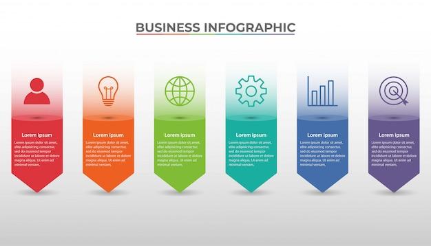 Zakelijke infographic presentatiesjabloon met 6 opties. illustratie.