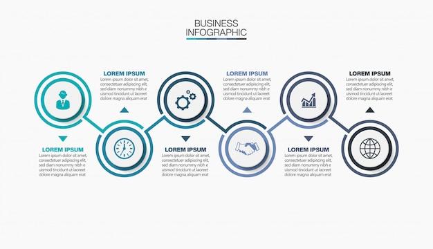 Zakelijke infographic presentatiesjabloon met 6 opties.