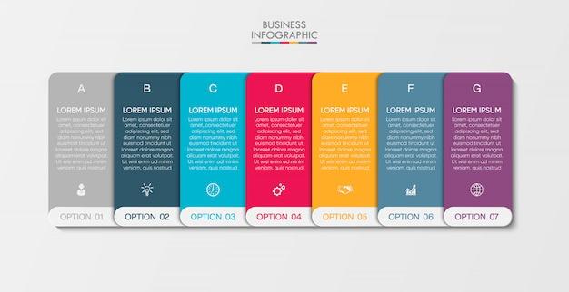 Zakelijke infographic presentatiesjabloon met 7 opties