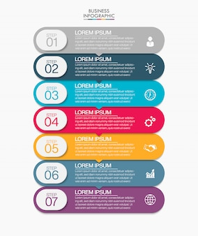 Zakelijke infographic presentatiesjabloon met 7 opties.