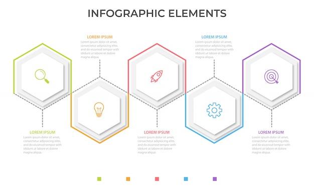 Zakelijke infographic presentatiesjabloon met vijf opties