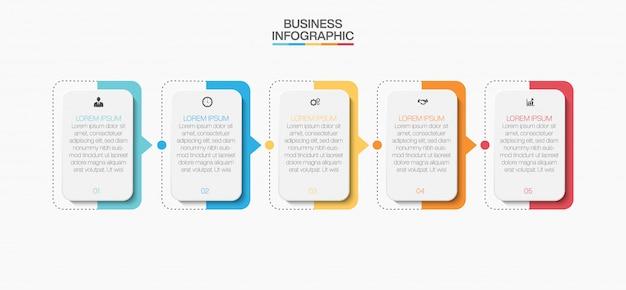 Zakelijke infographic presentatiesjabloon met vijf opties.