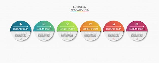 Zakelijke infographic presentatiesjabloon met zes opties.
