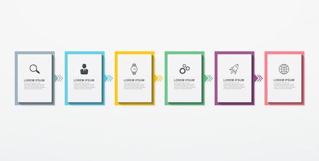 Zakelijke infographic rechthoekige elementen met 6 opties stappen.