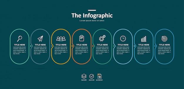 Zakelijke infographic sjabloon, dunne lijn en plat ontwerp met 8 optie of stap
