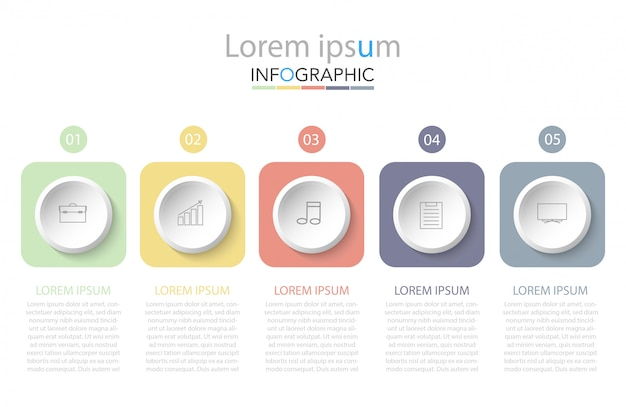 Zakelijke infographic sjabloon. dunne lijn met nummers vijf opties of stappen.