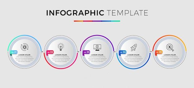 Zakelijke infographic sjabloon. dunne lijn ontwerp met nummer 5 opties of stappen.