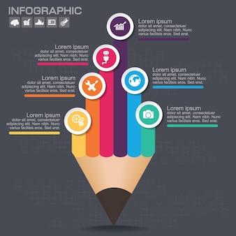 Zakelijke infographic sjabloon lay-out met illustratie van creatief kleurrijk potlood.