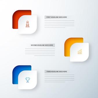 Zakelijke infographic sjabloon met 3 niveaus.