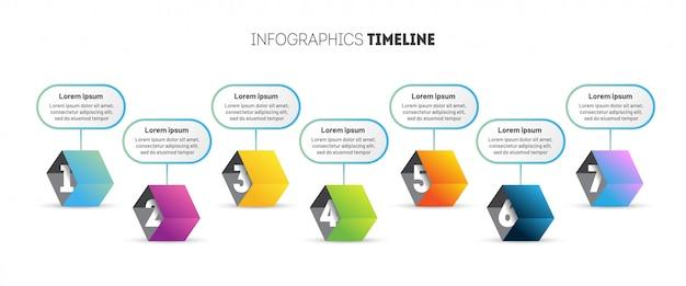 Zakelijke infographic sjabloon met 3d-kubussen.