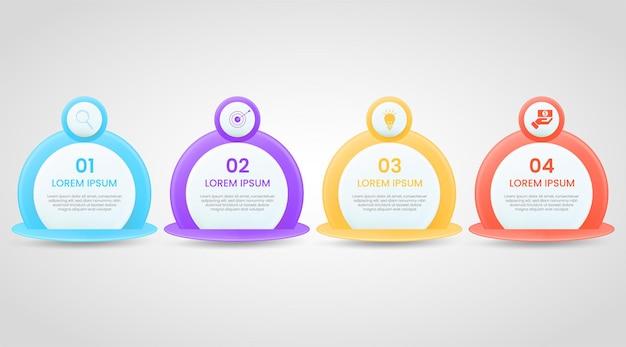 Zakelijke infographic sjabloon met 4 optie of stap