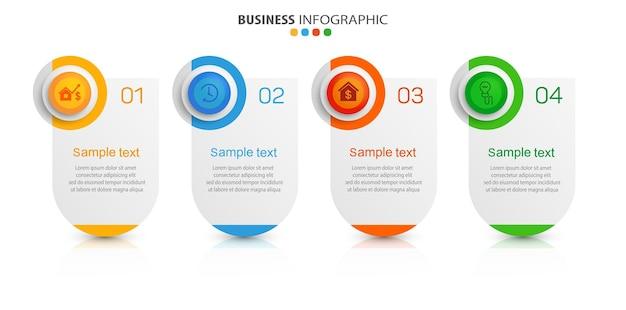 Zakelijke infographic sjabloon met 4 opties of stappen