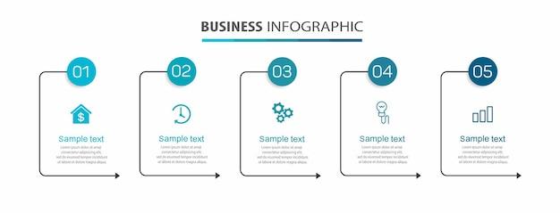 Zakelijke infographic sjabloon met 5 opties of stappen
