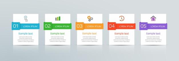 Zakelijke infographic sjabloon met 5 opties