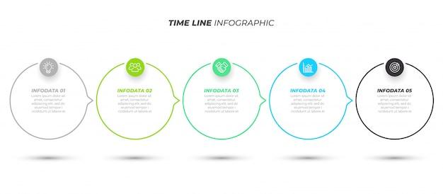 Zakelijke infographic sjabloon met 5 stappen