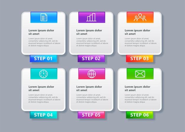 Zakelijke infographic sjabloon met 6 elementen