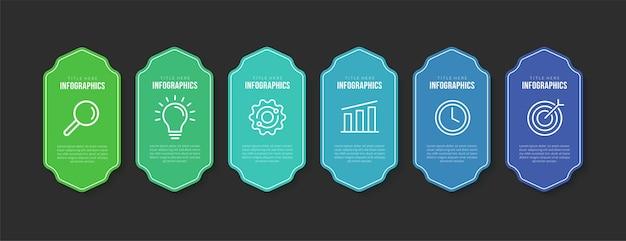 Zakelijke infographic sjabloon met 6 opties kleurrijke badge workflow info meerdere stappen