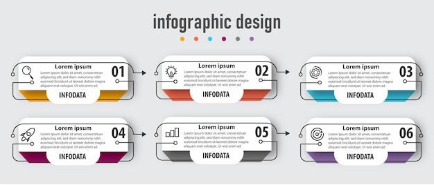 Zakelijke infographic sjabloon met 6 opties. premium vector