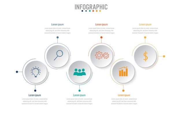 Zakelijke infographic sjabloon met 6 opties
