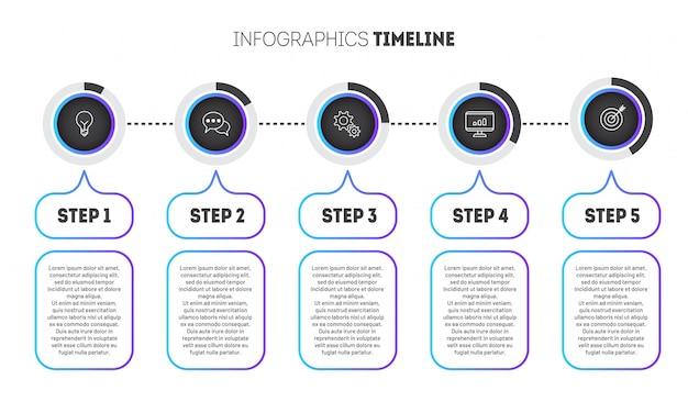 Zakelijke infographic sjabloon met cirkels met kleurovergang.