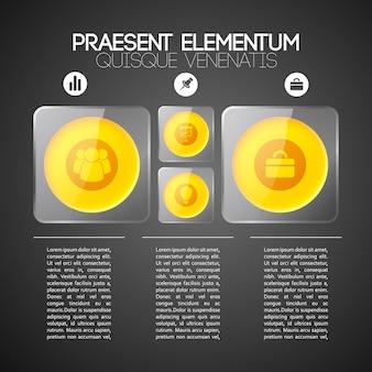 Zakelijke infographic sjabloon met drie stappen