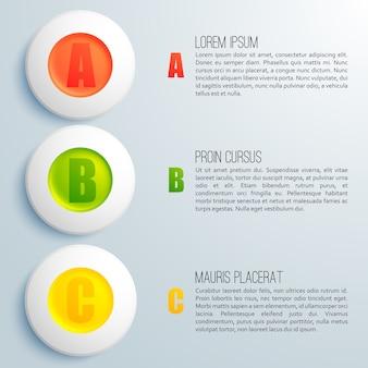 Zakelijke infographic sjabloon met geordende cirkels en tekstveld plat