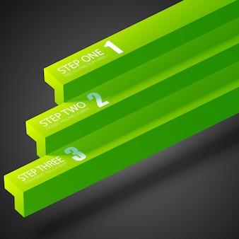 Zakelijke infographic sjabloon met groene rechte balken en drie stappen
