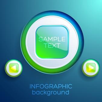 Zakelijke infographic sjabloon met kleurrijke glanzende vierkante webknoppen en afspeelpictogrammen geïsoleerd