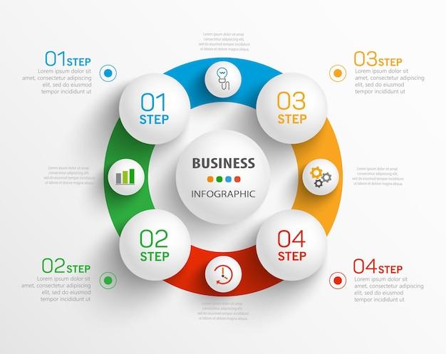 Zakelijke infographic sjabloon met pictogrammen en 4 opties of stappen