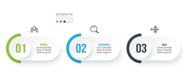 Zakelijke infographic sjabloon met stap of optie ontwerp.