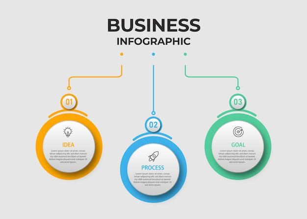 Zakelijke infographic sjabloon met stappen