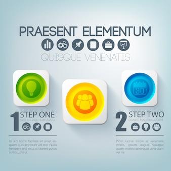 Zakelijke infographic sjabloon met twee opties kleurrijke ronde knoppen in vierkante kaders en pictogrammen