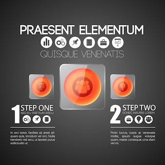 Zakelijke infographic sjabloon met twee stappen
