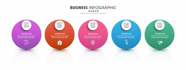 Zakelijke infographic sjabloon met vijf stappen