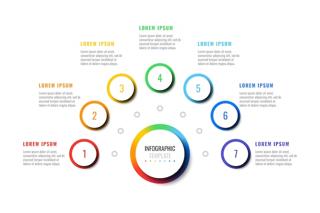 Zakelijke infographic sjabloon met zeven ronde realistische elementen op een witte achtergrond. moderne vectorgegevensvisualisatie met tekstvakken.