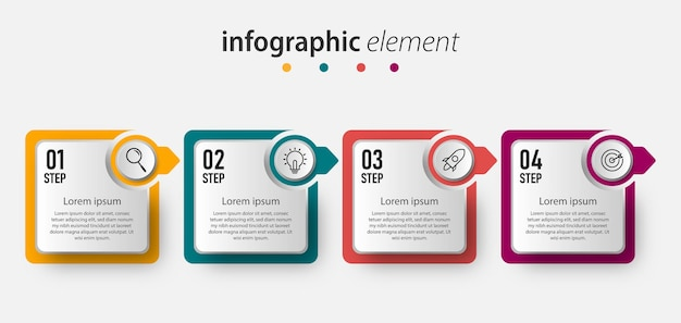Zakelijke infographic sjabloonelementen met 4 opties