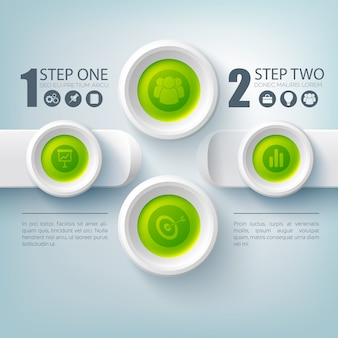 Zakelijke infographic stap voor stap met set van pictogrammen en knoppen plat