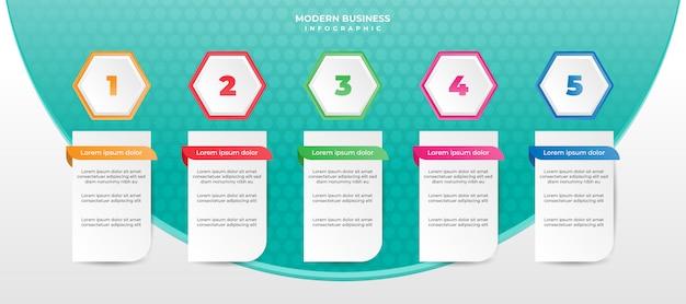 Zakelijke infographic stappen kunnen gebruikt worden voor workflow, layout, presentatie of jaarverslag