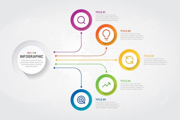 Zakelijke infographic stappen met kleurrijk ontwerp