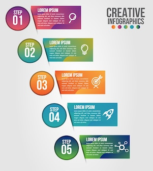 Zakelijke infographics 5 stappen optiesjabloon met tijdlijn van de weg