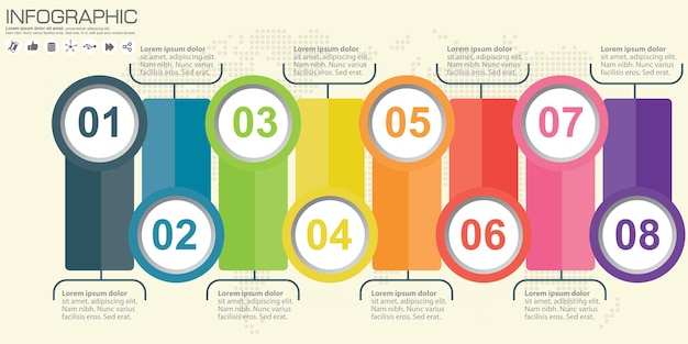 Zakelijke infographics cirkel origami stijl illustratie. Premium Vector