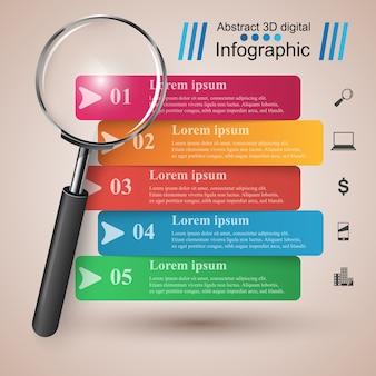 Zakelijke infographics. loep pictogram.